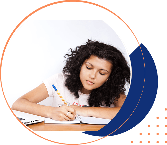 Girl doing homework to prepare questions